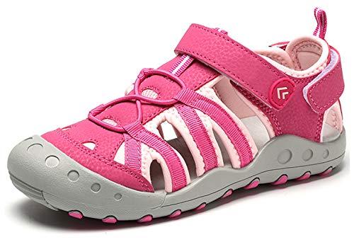 Geschlossen Sandalen Mädchen Trekking Leder Outdoor Sandale Klettverschluss Kinder Schuhe Sommer Pink gr.27