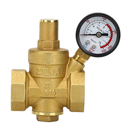 Oubit Regulador de presión DN25 Regulador Reductor de presión de Agua Ajustable de latón Reductor + medidor de Calibre, Puede soportar una presión de 1.6Mpa
