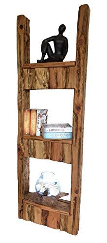 Wood & Wishes - Rustikales Wandregal, Wandboard, Standregal, Schweberegal aus Massivholz; gefertigt in Handarbeit mit 3 Ablagen; dekoratives Unikat; Treibholzoptik; HBT ca. 150 x 48 x 13 cm