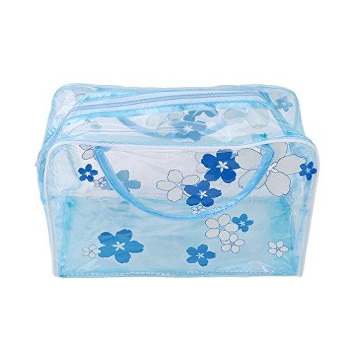 VWH Transparent Maquillage Cas Fleur Waterproof Cosmétique Sac de Toilette Zebra Voyage Bain Sac Organisateur (bleu)