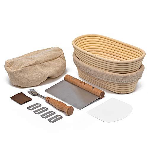 Proofing Set, by Kook, Sourdough Bread, 2 Rattan Banneton Baskets, 2 Basket Covers, Metal Scraper, Plastic Scraper, Scoring Lame, 5 Blades and Case, Oval Shape