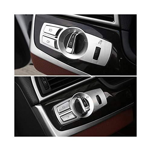 PEIPEI HanGao Ajuste for el BMW X3 X4 F26 F25 F10 5/7 Serie Interruptor de Faros Botones Cubre el Bastidor Decorativo Interior Pegatinas Accesorios Elegante y Hermoso (Color Name : Silver)