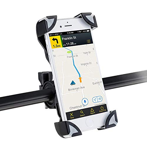 AGPTEK Bike Phone Mount Bicycle Holder 360 Degrees Rotatable Adjustable Eagle Claw Design Universal Cradle Clamp for iPhone 5/6/7/8iPhone 7/8 PlusSamsung S7/8 Note 5 GPS Device etc Black