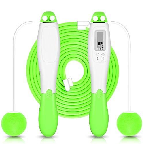 Springseil mit Zählen Jump Rope Crossfit Digitale Drahtlose Seilspringen mit Kalorienzählen Kugellager Anti-Rutsch Griffe für Sport Training Fitness für Kinder & Erwachsene(Grün)