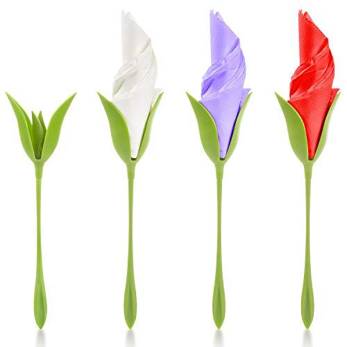 Comius Sharp 4 Piezas Servilletero Creativo Papel Toalla con 4 Servilletas Papel para Decoración de Mesa Anillo de Servilletas de Fiesta Familiar Hacer Servilletas de Flores DIY