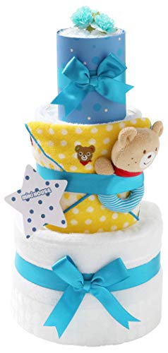mikihouse(ミキハウス) 使用 おむつケーキ 出産祝い 名入れ刺繍 3段 オムツケーキ 今治タオル imabari towel バスタオル (メリーズテープタイプLサイズ, ブルーのリボン 男の子向け)