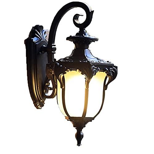 Chao Zan - Lámpara de pared exterior impermeable vintage retro de metal, lámpara exterior de cristal, lámpara de pared para interior y exterior, E27, para terraza, balcón, escaleras, pasillo