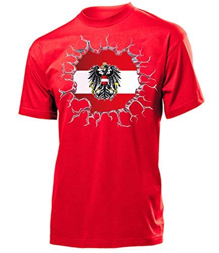 Österreich Austria Fan t Shirt Artikel 5665 Fuss Ball EM 2020 WM 2022 Team Trikot Look Flagge Fahne Jersey World Cup Männer Herren Jungen XL