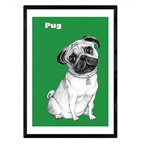 Nacnic poster dePug verde.Lámina decoratieve hond. A3-formaat