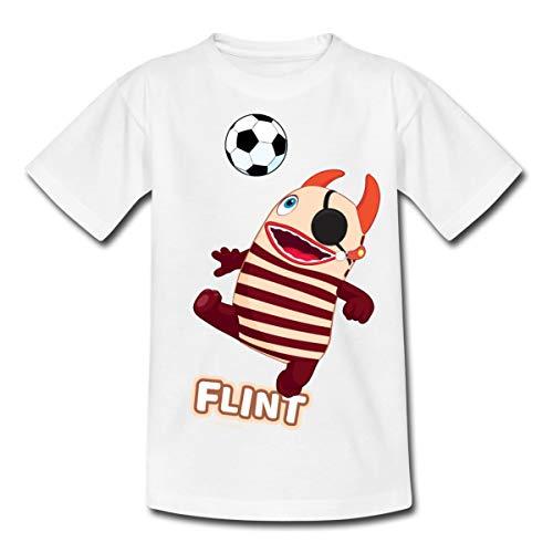 Sorgenfresser Flint Pirat Spielt Fußball Kinder T-Shirt, 122-128, Weiß