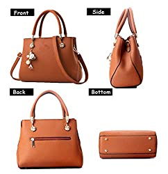 Handbags for Women Fashion Ladies Purses PU Leather Satchel Shoulder Tote Bags (Brown)