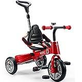 折りたたみ 三輪車 MINI 舵取り三輪車 10インチ ミニライセンス 自転車 子供用 手押し三輪車 コンパクト スマートバーで安心 (レッド)