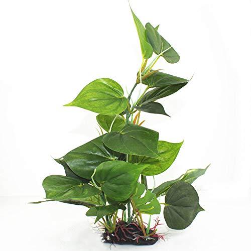 Gogogo Aquarium Plastikpflanzen künstlich Wassergras Dekor Monstera Blätter mit Keramikbasis L