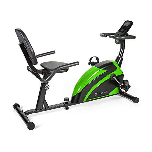KLAR FIT Klarfit Relaxbike 6.0 SE - Vélo couché, Cardiobike, Vélo d'exercice, Masse du Volant: 12 kg, Résistance magnétique à 8 Niveaux, Support de Tablette, PulseControl, SilentBelt Drive, Vert