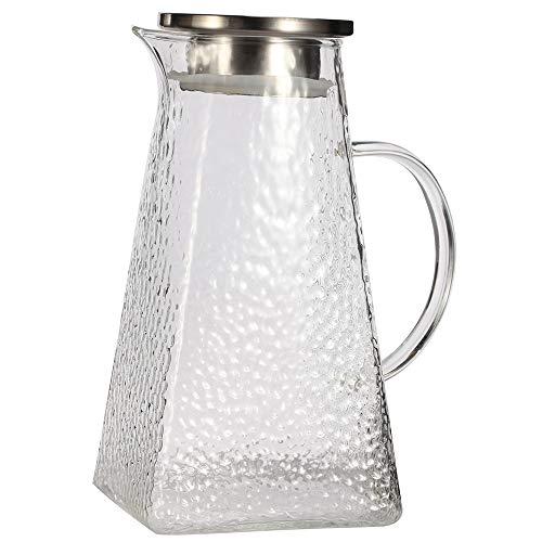 G.a HOMEFAVOR Glaskaraffe 1800 ml Borosilikatkanne Wasserkrug mit Edelstahl Deckel, Wasserkaraffe Allzweckkanne Karaffe für Ihren Tisch