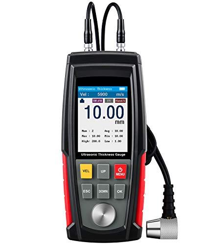 Ultraschall-Dickenmessgerät, Bereich 1~200 mm & 0,01 mm Auflösung, professionelles hintergrundbeleuchtetes LCD-Display Farbdisplay-Dickenmessgerät mit Aufbewahrungsbox