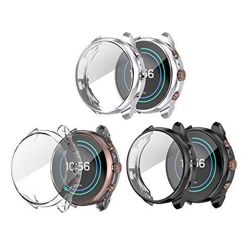 Tencloud Cases - Carcasa protectora para reloj inteligente Fossil Sport de 41 mm (poliuretano termoplástico), color negro, gris, transparente