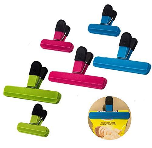 Lebensmittel-Clips,6 Stück Verschluss Clips Verschlußklemmen Kunststoff Tüten-Clips für Küche,Büro,Garage