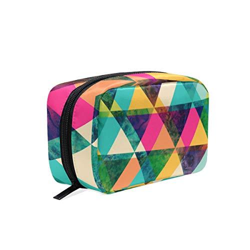 Trousse de maquillage avec sac à fermeture à glissière cosmétique embrayage arc-en-ciel triangle sac de rangement de voyage sac carré pour les femmes dame