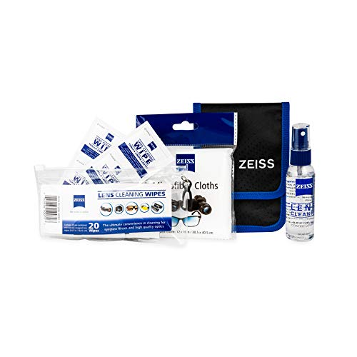 Zeiss Lens Cleaning Bundle: 2oz Lens Spray, 2 Jumbo Microfiber Cloths, 20 Pre-Moistened Lens Cleaning Wipes, 1 Carrying Case