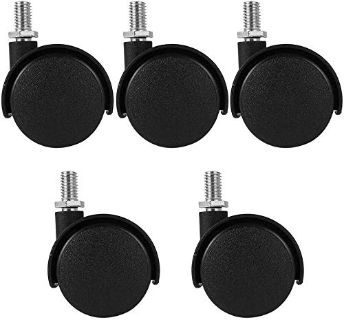 Castor Wheel 5pcs Office Chair Caster Universal Wheel Furniture Caster Without Brake Swivel Castor Wheels Replace Trolley Machinery Silent Robot Vacuum Cleaner Wheels-Black