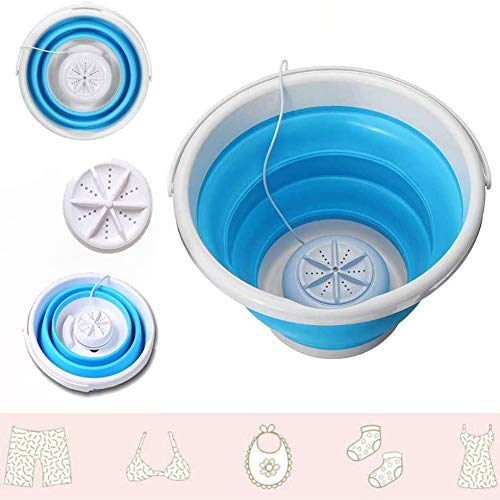 GadgetsTalk Portable Mini Turbo Washing Machine with Foldable Tub Compact Ultrasonic Turbine Washer (AMZ-204)