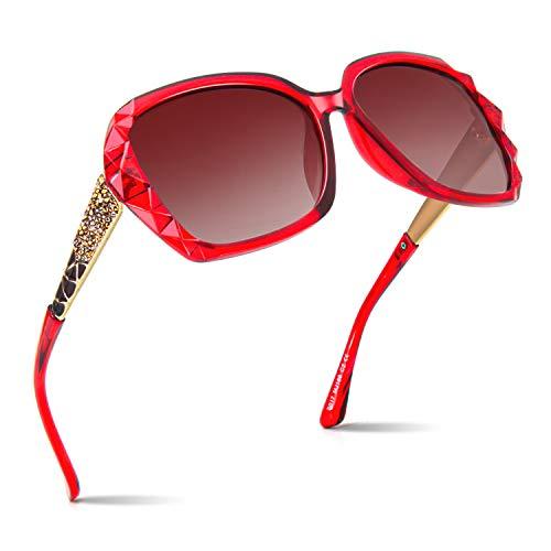 CGID Occhiali da Sole Polarizzati per Donne Occhiali da Sole per Signora Oversize Tonalità Polaroid Protezione UV400 Occhiali Scuri 100% UV 400 Occhiali Classici con Strass Taglio a Diamante Neri