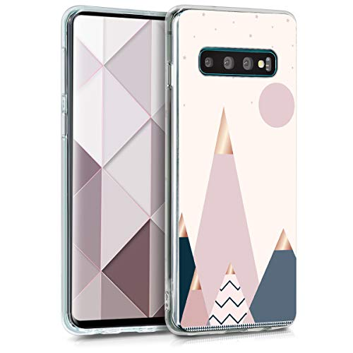 kwmobile Hülle kompatibel mit Samsung Galaxy S10 - Handyhülle - Handy Case Glory Mix Berge Rosegold Blau Rosa