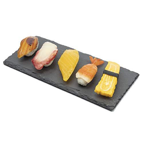 Schieferplatten Set (4 Stück) Dekorative Servierplatten aus naturbelassenem Schiefer für das Käseteller Sushi Teller schwarz servierplatte deko Picknick & Camping Geschirr 25 x 12 cm