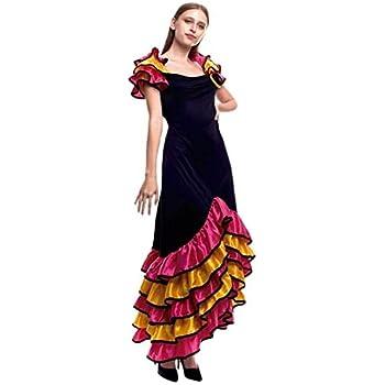 Disfraz de Rumbera Largo - Mujer, M: Amazon.es: Ropa y accesorios