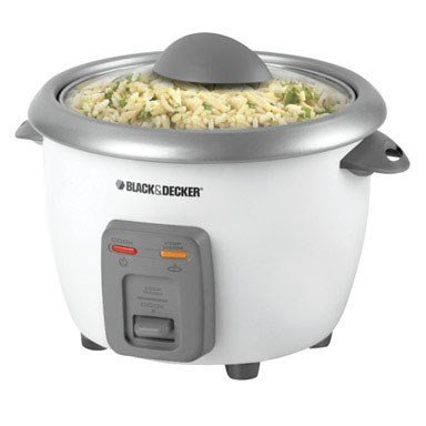 Black & Decker Rice Cooker 6 Cups Of Cooked Rice White Base With Gray Accents
