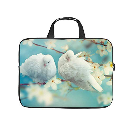 Two White Pigeon On Flowering 10InchLaptopSleeveCaseProtectiveCoverCarryingBagfor9.7'10.5'IpadProAir/10'MicrosoftSurfaceGo/10.5'SamsungGalaxyTab