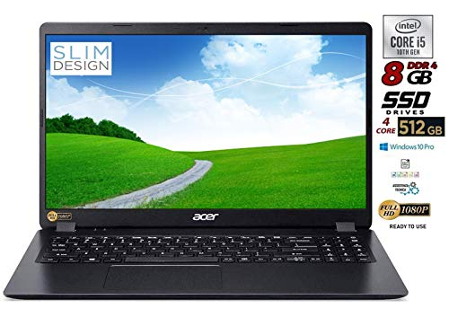 "Notebook Acer pc portatile SSD, Intel Quad Core i5 8265 8 Gen fino 3,9 Ghz, RAM 8GB, SSD 480 GB, Display 15.6"" Full HD, Svga UHD 620, 3 usb, wi-fi, hdmi, lan Win 10 pro, pronto all'uso"