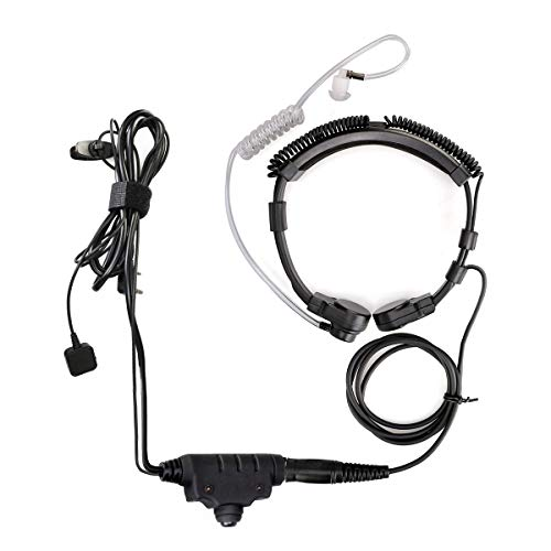 Retevis ETK006 Micrófono de Garganta Táctico Ajustable con PTT Compatible con Retevis RT24 RT27 RT28 RT619 eSynic UV-5R BF-88E BaoFeng BF-888S Kenwood Two Way Radio (1 Pieza)