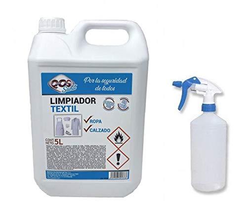 Sanit. Limpiador textil para ropa y calzado que higieniza y desinfecta rápidamente. Envase de 5 lts. Se incluye una botella vacía pulverizadora de 1 litro