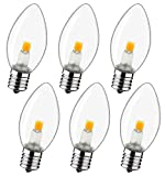 LED Night Light Bulb – C7 E12 LED Bulbs – Candelabra Light Bulbs, 0.6 Watt Equivalent 7W Incandescent Bulb, Warm White 2700K, Window Candles & Chandeliers Replacement Bulb, 6 Pack