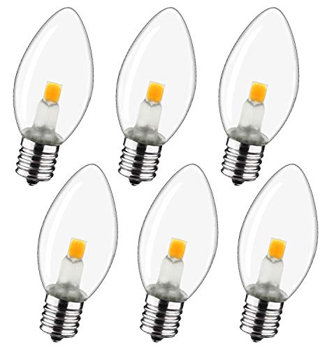LED Night Light Bulb – C7 E12 LED Bulbs – Candelabra Light Bulbs, 0.6 Watt Equivalent 7W Incandescent Bulb, Warm White 2700K, Window Candles & Chandeliers Replacement Bulb, 6 Pack