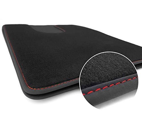 kh Teile LKW Fußmatten Scania R S Fahrerhaus Kabine Teppich Tuning, Ziernaht Rot 2X Velours schwarz