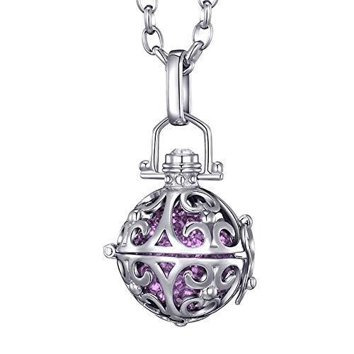 Morella Collar de Acero Inoxidable 70 cm con Colgante Ornamento y Bola de resonancia Ø 16 mm para Damas en Bolsa para Joya Color Lila