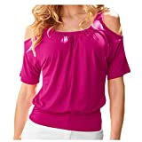 Camiseta sin tirantes para mujer de poliéster delgado de las mujeres camiseta de manga corta para mujer Color sólido Tops mujer camiseta - rojo - XX-Large