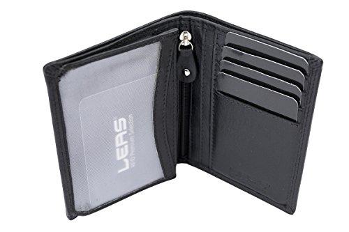 Ausweishülle Scheckkartenmappe Kartenmappe dünn mit RFID Schutz, Fahrzeugscheinmappe KFZ Mappe flach mit RFID Folie LEAS in Echt-Leder, schwarz