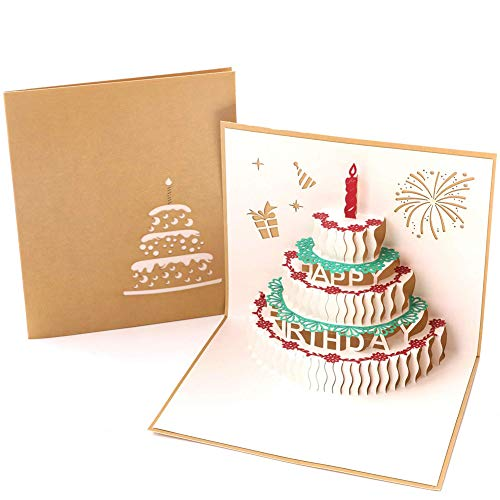 Papier Spiritz Geburtstag Kuchen mit Kerze 3D Pop up Grußkarte Best Wishes Thank You Mom Postkarte mit Umschlag Laser Schnitt Geburtstag Post Karte (1Stück)