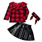 puseky 3pcs niños niñas pequeñas Camisa a Cuadros roja con Volantes Falda de Cuero Vestido de Diadema Conjunto de Trajes