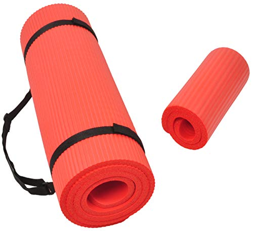 BalanceFrom GoYoga+ All-Purpose 1/2-Inch Extra Thick High Density Anti-Tear Exercise Yoga Mat and Knee Pad with Carrying Strap (Red)
