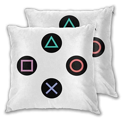 Funda de almohada Juega con botones del controlador de Playstation Funda de cojín cuadrada Funda de almohada estándar Decorativa para el hogar para sofá Sillón Dormitorio Sala de estar 18x18in