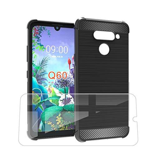 SCDMY Funda para LG Q60, Engrosamiento de Cuatro Esquinas Funda, Negro Fibra de Carbono Protectora Silicona Carcasa, Enviar un Vaso Templado para LG Q60