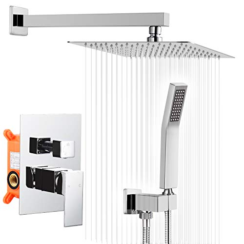 10 Inches Bathroom Luxury Rain Mixer Shower Combo Set, Wall Mounted Rainfall Shower Head System, Chrome Shower Faucet Rough-in Valve Body and Trim Included,HGN