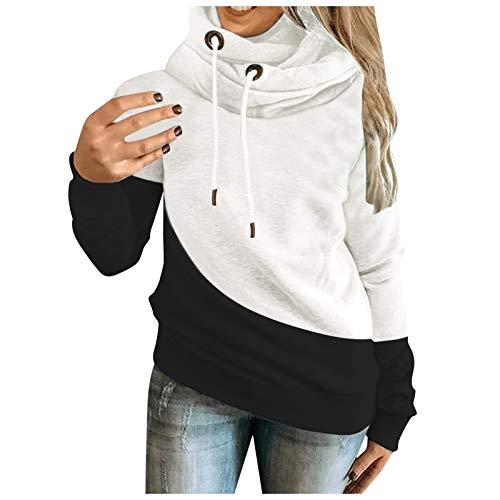 Yowablo Hoodie Pullover Sweatshirt Hoodie Sweatshirt Frauen New Casual Farbkontrast Nähen Langarm Top (M,2Schwarz)