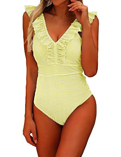 CheChury 2020 Bikini Moda Mujer De Una Pieza Traje De Baño Push-Up Bra Volantes Correas Hoja de Loto Bikini Bañadores De Mujer Tallas Grandes Sexy Ropa de Baño Bikini Acolchado Bañador Natación