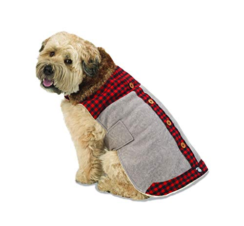 PetRageous 10403GXS Jackson Lodge Coat, Gray, for Pugs